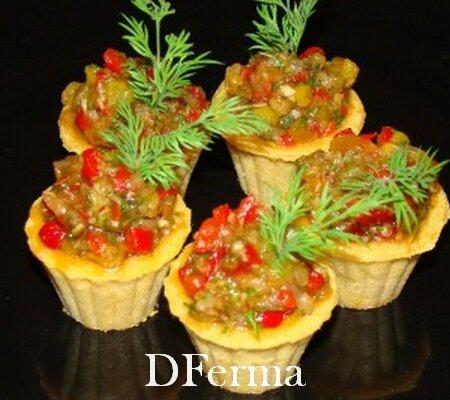 Тарталетки с тартаром из запеченных овощей